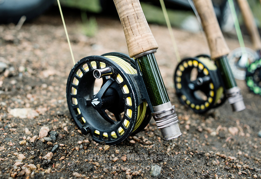 Fly fishing rods are prepared for fishing at the Broadmoor Hotel fishing lodge near Colorado Springs, Colorado, Monday, May 4, 2015. <br /> <br /> Photo by Matt Nager