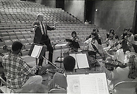 New York, NY CIrca 1988 - Orchestra practice in the auditorium of Fiorello H. LaGuardia High School for Music and Art and the Performing Arts