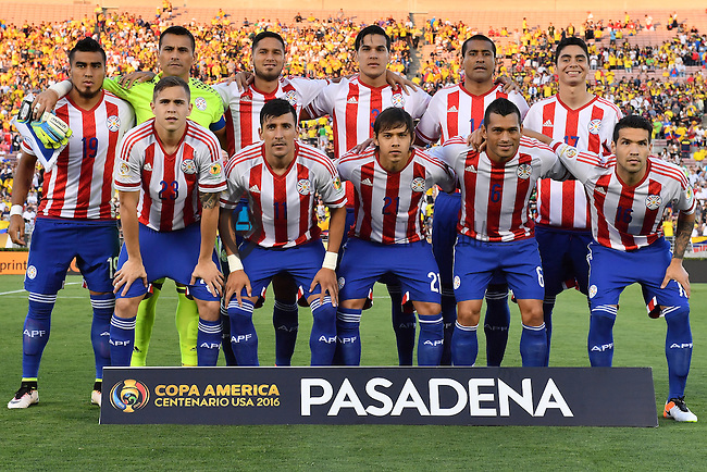 Paraguay starting eleven poses for a group photograph before Copa America Centenario group A match, in Pasadena, CA. Tuesday, Jun 07, 2016. (TFV Media via AP) *Mandatory Credit*