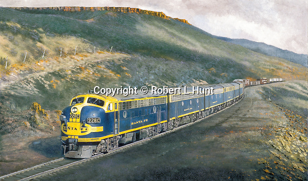 "Santa Fe F unit diesels in blue and yellow ""brave"" warbonnet paint moving a freight train through the American Southwestern high desert country. Oil on canvas, 18' x 30""."