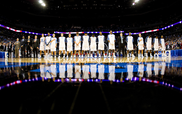 North Carolina stands for the national anthem during the NCAA Basketball Men's East Regional at Time Warner Cable Arena in Charlotte, NC.