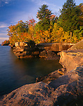 Big Bay State Park, WI:  Lake Superior and sandstone cliffs of Big Bay Point in morning light, Madeline Isalnd, Apostle Islands, Ashland County