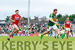 Darran O'Sullivan Kerry  in action against Tomas Clancy Cork in the Munster Senior Football Final at Fitzgerald Stadium on Sunday.