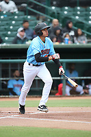 Franklin Torres (46) of the Inland Empire 66ers bats against the Stockton Ports at San Manuel Stadium on May 26, 2019 in San Bernardino, California. (Larry Goren/Four Seam Images)