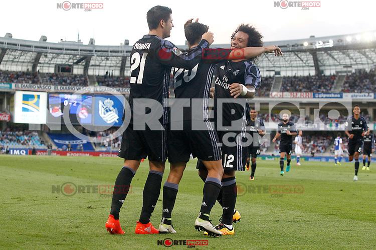 Real Madrid's Alvaro Morata, Marco Asensio and Marcelo Vieira celebrate goal during La Liga match. August 21,2016. (ALTERPHOTOS/Acero) /NORTEPHOTO