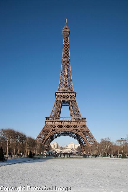 Eiffel Tower in Paris in Winter in Snow
