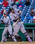 15 April 2018: Colorado Rockies first baseman Ian Desmond hits the game winning solo home run in the 9th inning against the Washington Nationals at Nationals Park in Washington, DC. All MLB players wore Number 42 to commemorate the life of Jackie Robinson and to celebrate Black Heritage Day in pro baseball. The Rockies edged out the Nationals 6-5 to take the final game of their 4-game series. Mandatory Credit: Ed Wolfstein Photo *** RAW (NEF) Image File Available ***