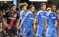 FUSSBALL   CHAMPIONS LEAGUE   SAISON 2011/2012     13.08.2011 FC Chelsea London - Bayer 04 Leverkusen Michael Ballack (Bayer 04 Leverkusen) und David Luiz, Fernando Torres, Branislav Ivanovic  und Florent Malouda (v.li, alle FC Chelsea)