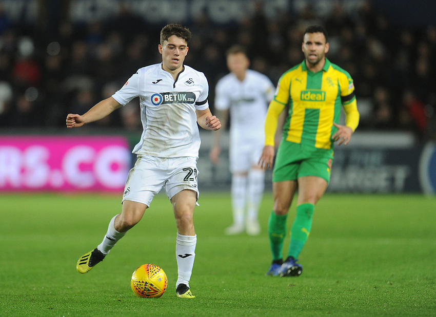 Swansea City's Dan James<br /> <br /> Photographer Kevin Barnes/CameraSport<br /> <br /> The EFL Sky Bet Championship - Swansea City v West Bromwich Albion - Wednesday 28th November 2018 - Liberty Stadium - Swansea<br /> <br /> World Copyright © 2018 CameraSport. All rights reserved. 43 Linden Ave. Countesthorpe. Leicester. England. LE8 5PG - Tel: +44 (0) 116 277 4147 - admin@camerasport.com - www.camerasport.com