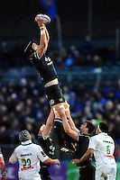 Luke Charteris of Bath Rugby wins the ball at a lineout. European Rugby Challenge Cup match, between Bath Rugby and Pau (Section Paloise) on January 21, 2017 at the Recreation Ground in Bath, England. Photo by: Patrick Khachfe / Onside Images