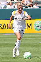 Ali Wagner #4 of the Los Angeles Sol attacks the defense of FC Gold Pride during their match at Home Depot Center on April 19, 2009 in Carson, California.