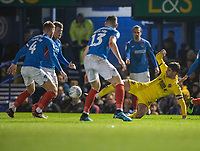 Fleetwood Town's Ched Evans (right) under pressure as he battles with Portsmouth players <br /> <br /> Photographer David Horton/CameraSport<br /> <br /> The EFL Sky Bet League One - Portsmouth v Fleetwood Town - Tuesday 10th March 2020 - Fratton Park - Portsmouth<br /> <br /> World Copyright © 2020 CameraSport. All rights reserved. 43 Linden Ave. Countesthorpe. Leicester. England. LE8 5PG - Tel: +44 (0) 116 277 4147 - admin@camerasport.com - www.camerasport.com