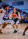 12 March 2019: Binghamton University Bearcat Forward Caleb Stewart, a Senior from Glenville, NY, in action during the America East Semifinal Men's Basketball playoff game against the University of Vermont Catamounts at Patrick Gymnasium in Burlington, Vermont. The top-seeded Catamounts defeated the Bearcats 84-51, ending Binghamton's 2018-2019 season. Mandatory Credit: Ed Wolfstein Photo *** RAW (NEF) Image File Available ***