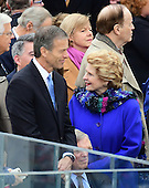 United States Senators John Thune (Republican of North Dakota) and Debbie Stabenow (Democrat of Michigan) prior to the ceremony where Donald J. Trump will be sworn-in as the 45th President of the United States on the West Front of the US Capitol on Friday, January 20, 2017.<br /> Credit: Ron Sachs / CNP<br /> (RESTRICTION: NO New York or New Jersey Newspapers or newspapers within a 75 mile radius of New York City)