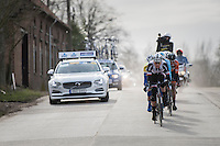 Mike Teunissen (NED/Sunweb) leading the breakaway group of the day<br /> <br /> 72nd Omloop Het Nieuwsblad 2017