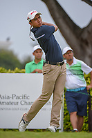 Naraajie Emerald RAMADHAN (INA) watches his tee shot on 12 during Rd 4 of the Asia-Pacific Amateur Championship, Sentosa Golf Club, Singapore. 10/7/2018.<br /> Picture: Golffile | Ken Murray<br /> <br /> <br /> All photo usage must carry mandatory copyright credit (&copy; Golffile | Ken Murray)