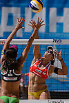 30.05.2015, Moskau, Vodny Stadion<br /> Moskau Grand Slam, Main Draw / Viertelfinale<br /> <br /> Block Talita Antunes (#2 BRA) - Angriff Liliana Fernandez Steiner (#1 ESP)<br /> <br />   Foto &copy; nordphoto / Kurth