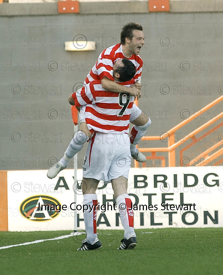 04/09/2004   Copyright Pic : James Stewart.File Name : jspa08_hamilton_v_stjohnstone.MARK CORRIGAN CELEBRATES WITH PAT KEOGH (9) AFTER HE SCORED FOR HAMILTON......Payments to :.James Stewart Photo Agency 19 Carronlea Drive, Falkirk. FK2 8DN      Vat Reg No. 607 6932 25.Office     : +44 (0)1324 570906     .Mobile  : +44 (0)7721 416997.Fax         :  +44 (0)1324 570906.E-mail  :  jim@jspa.co.uk.If you require further information then contact Jim Stewart on any of the numbers above.........