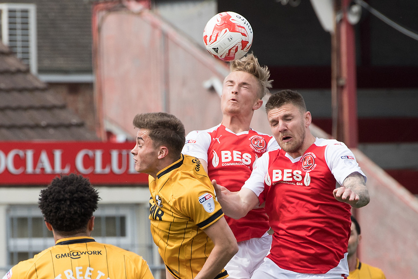 Fleetwood Town's Kyle Dempsey wins the header<br /> <br /> Photographer Terry Donnelly/CameraSport<br /> <br /> The EFL Sky Bet League One - Fleetwood Town v Port Vale - Sunday 30th April 2017 - Highbury Stadium - Fleetwood<br /> <br /> World Copyright &copy; 2017 CameraSport. All rights reserved. 43 Linden Ave. Countesthorpe. Leicester. England. LE8 5PG - Tel: +44 (0) 116 277 4147 - admin@camerasport.com - www.camerasport.com
