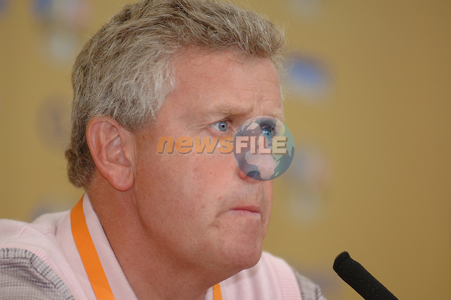 19th September, 2006. Dublin Ireland. Ryder Cup press Conference at the K club..European Ryder Cup team player Colin Montgomerie gives a press conference at the above..Photo: Barry Cronin/ Newsfile.<br />