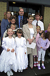 Chloe Pentony from Rathmullen who made her First Holy Communion in Ballsgrove Church pictured with her sisters Janie and Kayleigh, Auntie Sarah Thompson, mother Judie Pentony and Martin Pentony and Charlene Bradley from Marley's Court with her parents Michelle and Martin Bradley and brother Shane..Picture Paul Mohan Newsfile