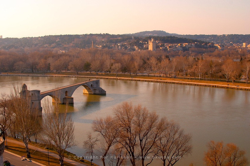The Pont Saint St Benezet bridge in Avignon on the Rhone river seen from the garden of the Pope's Palace, Vaucluse, Rhone, Provence, France