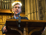 © Joel Goodman - 07973 332324 . 02/10/2017. Manchester, UK. JACOB REES-MOGG speaks at a fringe , right-wing Bruges Group event at Manchester Town Hall during the second day of the Conservative Party Conference at the Manchester Central Convention Centre . Photo credit : Joel Goodman