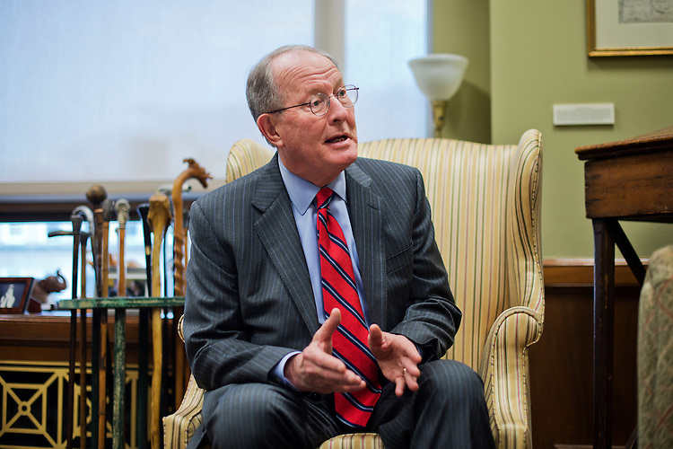 UNITED STATES - FEBRUARY 02: Sen. Lamar Alexander, R-Tenn. is interviewed by CQ Roll Call in his Dirksen Building office, February 2, 2015. (Photo By Tom Williams/CQ Roll Call)