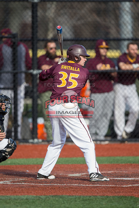 Niko Switalla (35) of the Iona Gaels at bat against the Rutgers Scarlet Knights at City Park on March 8, 2017 in New Rochelle, New York.  The Scarlet Knights defeated the Gaels 12-3.  (Brian Westerholt/Four Seam Images)