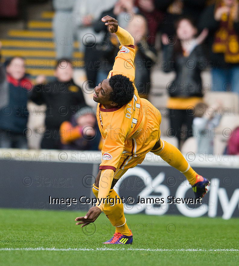 MOTHERWELL'S OMAR DALEY CELEBRATES AFTER HE SCORES MOTHERWELL'S FIRST GOAL.07/01/2012 sct_jsp014_motherwell_v_queens_park     .Copyright  Pic : James Stewart.James Stewart Photography 19 Carronlea Drive, Falkirk. FK2 8DN      Vat Reg No. 607 6932 25.Telephone      : +44 (0)1324 570291 .Mobile              : +44 (0)7721 416997.E-mail  :  jim@jspa.co.uk.If you require further information then contact Jim Stewart on any of the numbers above.........