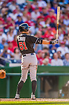19 September 2015: Miami Marlins outfielder Ichiro Suzuki in action against the Washington Nationals at Nationals Park in Washington, DC. The Marlins fell to the Nationals 5-2 in the third game of their 4-game series. Mandatory Credit: Ed Wolfstein Photo *** RAW (NEF) Image File Available ***