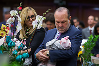 TALLAHASSEE, FLA. 3/7/17-Prominent Lobbyist  and new grandfather Ron Book holds granddaughter Kennedy Grace Byrnes as he joins his daughter Sen. Lauren Frances Book, D-Plantation, holding her son Hudson Lee Byrnes during opening day of the legislative session at the Capitol in Tallahassee.<br /> <br /> COLIN HACKLEY PHOTO