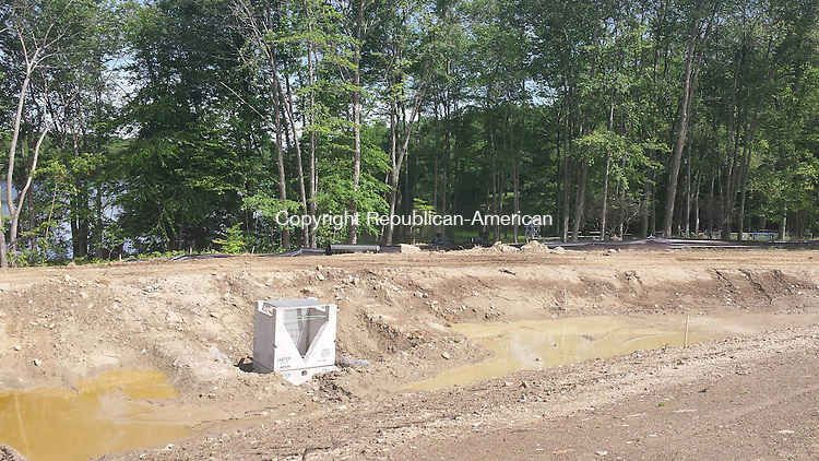 THOMASTON, CT, 05 June 2015 - 060515LW02 - A new detention basin will collect runoff and protect the pond at Nystrom's Park in Thomaston. Laraine Weschler Republican-American