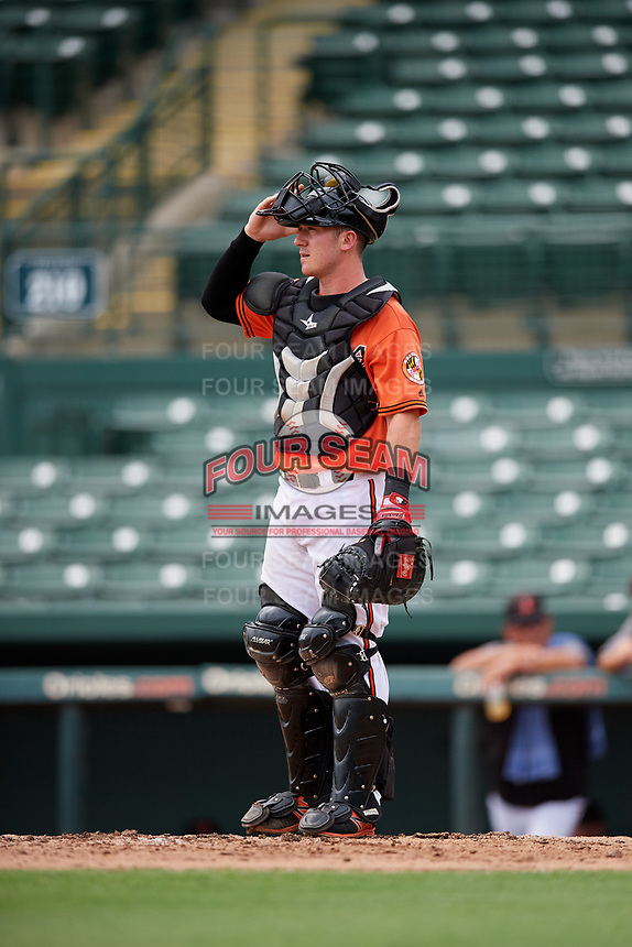 Baltimore Orioles catcher Ben Breazeale (60) during a Florida Instructional League game against the Boston Red Sox on October 8, 2018 at the Ed Smith Stadium in Sarasota, Florida.  (Mike Janes/Four Seam Images)
