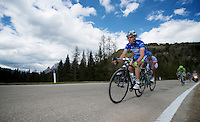 2013 Giro d'Italia.stage 11.Tarvisio - Vajont: 182km..Stefano Pirazzi (ITA) sprinting up the final meters of the Sella Ciampigotto (1790m) to maximise his advantage in the mountain classification (blue jersey)..