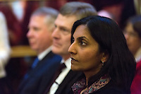 Newly elected socialist Seattle city councilmember Kshama Sawant and other city officials were sworn into office today, January 6, 2014, before a standing-room-only crowd at Seattle City Hall.