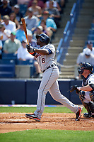 Detroit Tigers left fielder Justin Upton (8) at bat during a Spring Training game against the New York Yankees on March 2, 2016 at George M. Steinbrenner Field in Tampa, Florida.  New York defeated Detroit 10-9.  (Mike Janes/Four Seam Images)
