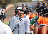 Rob Cushman, Head Football Coach<br /> The Occidental Tigers football team plays against Willamette University in Jack Kemp Stadium on Saturday, Sept. 15, 2018. It was their first home game of the season and second game of the season. Willamette won, 25-6.<br /> (Photo by Marc Campos, Occidental College Photographer)