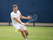 June 10th 2017,  Nottingham, England; ATP Aegon Nottingham Open Tennis Tournament day 1; Backhand Volley from Lloyd Glasspool who defeated Neil Pauffley.