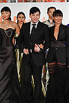 Taiwan born fashion designer Malan Breton poses with models at the close of his Malan Breton Spring 2014 collection fashion show, during the Celebrate Taiwan @ Grand Central Terminal event on September 28, 103.