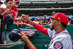 1 August 2018: Washington Nationals pitcher Jimmy Cordero signs autographs prior to facing the New York Mets at Nationals Park in Washington, DC. The Nationals defeated the Mets 5-3 to sweep the 2-game weekday series. Mandatory Credit: Ed Wolfstein Photo *** RAW (NEF) Image File Available ***