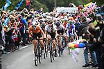 The Netherlands ride up Norwood Edge on the fornt of the peloton in action during the Women Elite Road Race of the UCI World Championships 2019 running 149.4km from Bradford to Harrogate, England. 28th September 2019.<br /> Picture: Pauline Ballet/SWpix.com | Cyclefile<br /> <br /> All photos usage must carry mandatory copyright credit (© Cyclefile | Pauline Ballet/SWpix.com)