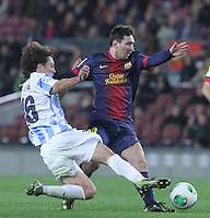 16.01.2013 Barcelona, Spain. Spanish Cup, quarter-final first leg. Picture show  Leo Messi in action during game FC Barcelona v Malaga at Camp Nou.