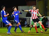 Lincoln City's Elliott Whitehouse vies for possession with Notts County's Ross Fitzsimons<br /> <br /> Photographer Andrew Vaughan/CameraSport<br /> <br /> The EFL Sky Bet League Two - Lincoln City v Notts County - Saturday 13th January 2018 - Sincil Bank - Lincoln<br /> <br /> World Copyright &copy; 2018 CameraSport. All rights reserved. 43 Linden Ave. Countesthorpe. Leicester. England. LE8 5PG - Tel: +44 (0) 116 277 4147 - admin@camerasport.com - www.camerasport.com