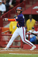 Center Fielder Thomas Brittle #4 of the Clemson Tigers swings at a pitch during a game against the South Carolina Gamecocks at Carolina Stadium on March 3, 2012 in Columbia, South Carolina. The Gamecocks defeated the Tigers 9-6. Tony Farlow/Four Seam Images.
