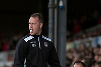 Newport County manager Mike Flynn chews gum during the Sky Bet League 2 match between Newport County and Notts County at Rodney Parade, Newport, Wales on 6 May 2017. Photo by Mark  Hawkins / PRiME Media Images.