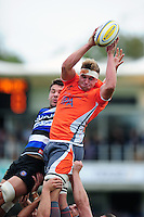 Will Witty of Newcastle Falcons wins the ball at a lineout. Aviva Premiership match, between Bath Rugby and Newcastle Falcons on September 10, 2016 at the Recreation Ground in Bath, England. Photo by: Patrick Khachfe / Onside Images