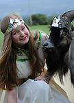 10-8-2014: Puck Fair Sunday: Queen of Puck Fair Rebecca Coffey (12) crowns a wild mountain goat as 'King Puck' at the annual Puck Fair in Killorglin, County Kerry on Sunday.<br /> Picture by Don MacMonagle
