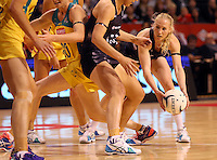 20.10.2015 Silver Ferns Laura Langman in action during the Silver Ferns v Australian Diamonds netball test match played ay Horncastle Arena in Christchruch. Mandatory Photo Credit ©Michael Bradley.