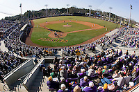 A crowd of 5,136 fans were on hand to watch the game between the Virginia Cavaliers and the East Carolina Pirates at Clark-LeClair Stadium on February 20, 2010 in Greenville, North Carolina.  This was the third largest crowd in the history of Clark-LeClair Stadium, and the first time there have been back-to-back crowds of 5,000-plus.   Photo by Brian Westerholt / Four Seam Images